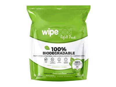 Dezinfekční utěrky D7 - Wipepod 24 x 15 cm - 100% Bio